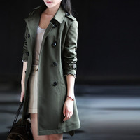 Green trench coat for women, shaped women jacket coat, autumn casual women coat