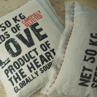 Handmade pillow/cushion on eco hemp love by chocolatecreative