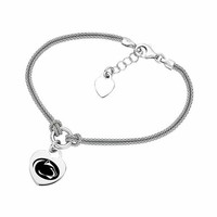 Buy Penn State Nittany Lions Heart Bracelet With Sterling Silver Popcorn Chain Strap. College Jewelry