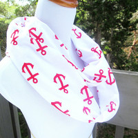Red Nautical Anchor infinite scarf- Soft Jersey knit
