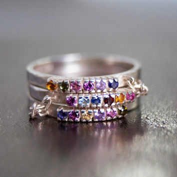 Stacking Silver Band with Gemstones, 925