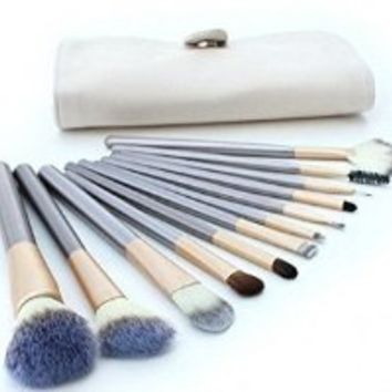 G2Plus Latest 12PCS Horse Hair Professional Makeup Cosmetics Brushes Set Kits with Cream-Colored Case Bag & 1 Piece White Round Facial Face Sponge Cosmetic Makeup Loose Powder Puff with Satin Ribbon