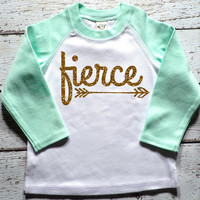 Fierce Shirt Mint And Gold Baby Shower Gift Bodysuit Baby Girl Clothes Baby Girl Shirt Hipster Baby Clothes Baby Gift Mint And Gold