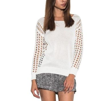 Dylan Pullover Open Holes Long Sleeve Knit Spring Sweater White One Grey Day