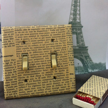 French Book Page Switchplate Cover and Matchbox