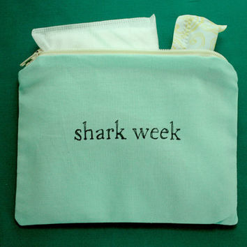 INdiscreet Zip Pouch for Tampons, Menstrual Pads, Feminine Products - shark week