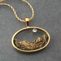 BLUE MOON Over Crystal Peaks Mountain pendant in 14k by BandScapes