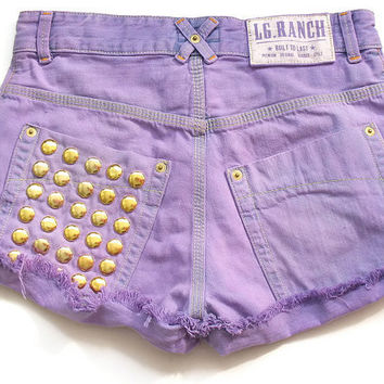 High waist roll up shorts with studded back by deathdiscolovesyou
