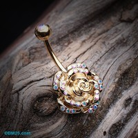 Golden Gleam Rose Belly Button Ring