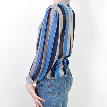 70s FINK Modell Striped Transparent Shirt. Luxury Style. Size 38