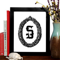 Monogram With Ornate Wreath Custom Print, Pick Your Letter, Minimalist Art, Home Office Decor, Wedding Decor, Wedding Gift, Anniversary Gift