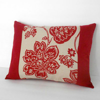 Red Floral Throw Pillow Cover Linen 12 X 16 inches