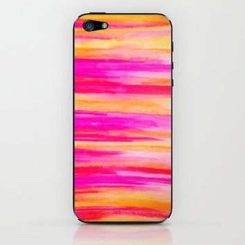 Welcome to Funky Town - Disco Inferno Dance Party Bold Rainbow Stripes Abstract Watercolor Painting iPhone & iPod Skin by EbiEmporium   Society6