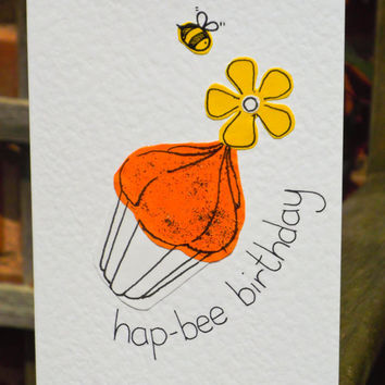 Hap-Bee Birthday Cupcake Handmade Greeting Card