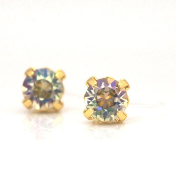 Popular in Japan ! 2 ways Invisible Clip On Earrings ! Luminous Green Swarovski Crystal Stud Clip on Earrings, Gold Stud Clip On Earrings