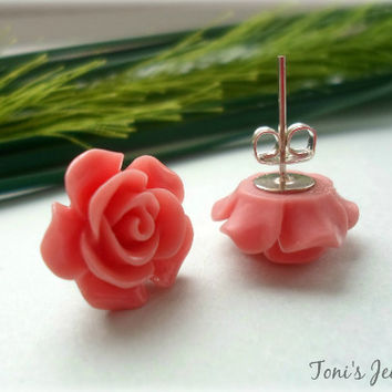 Flower Ear Studs - Resin, Kitsch, Nickel Free Studs - 5 Colours to Choose From