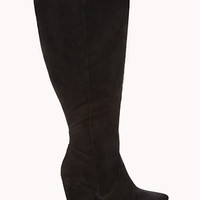 FOREVER 21 PLUS Wide Calf Wedge Boots Black