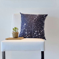 "Organic Galaxy Pillow 16"" - Night Sky Stars- Pillow Sham, Throw Pillow, Eco Friendly Pillow- Home Decor"