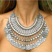 Silver Coin Bib Necklace