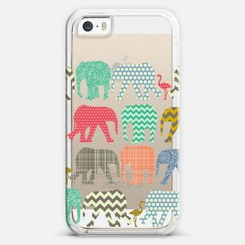 baby elephants and flamingos transparent iPhone 5s case by Sharon Turner | Casetify