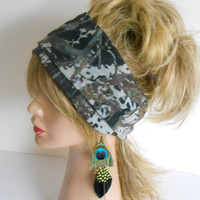 Camouflage Hair Band, Grey Green headband, chiffon scarf, beach accessories, Summer Fashion, Mothers Gifts,  peacock earrings gift