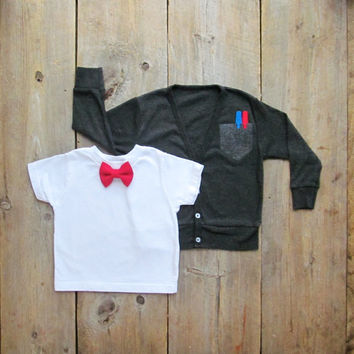 Lil Prepster Toddler Cardigan & Bow Tie Set