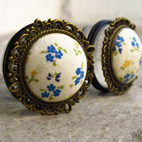 """Bluebell - Sizes 3/4 (19mm) to 1"""" (25mm) romantic vintage plugs for stretched ears"""