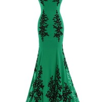 Sunary Black and Green Mermaid Mother of the Bride Dress Prom Gowns