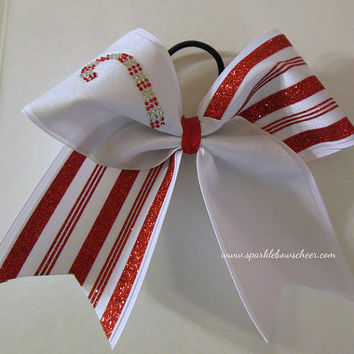 Christmas Candy Cane Rhinestone Large Cheer Bow Hair Bow Cheerleading