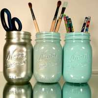 Back to School - Home, Dorm or Office Decor, Wedding - Mason Jars - Blue and Silver Ombre - Industrial - Pen and Pencil Holders