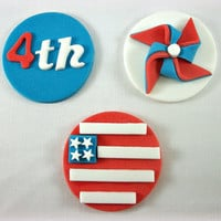 4th of July Cupcake Fondant Toppers, 4th of July Cookie Toppers,Patriotic favors, 4th of July party edible decorations, set of 12