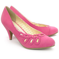 Pink Closed Toe Hailey Cut Out Pumps