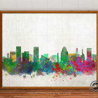Baltimore Skyline Watercolor Poster, Maryland Print, Cityscape, City Painting, States, Illustration Art Paint, Giclee Wall, Home Decor