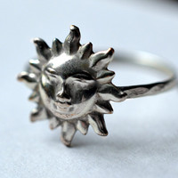 Sun Ring, Sterling Silver Ring, Hammered Silver, Handforged Ring, Silver Sun, Day Ring