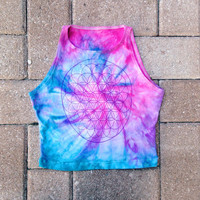 Tie Dyed Crop Top Flower of Life Yoga Tank Top Rave Festival Coachella Clothing