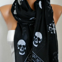 ON SALE - Skull Scarf - Cotton Scarf Shawl Bridesmaid Gift Multicolor Beach wrap Pareo -fatwoman