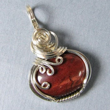 Sterling Silver Red Tiger Eye Pendant Wire Art by WireYourWorld