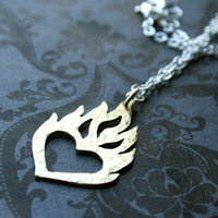 Heart on Fire Sterling Necklace by bLuGrnDesign on Etsy