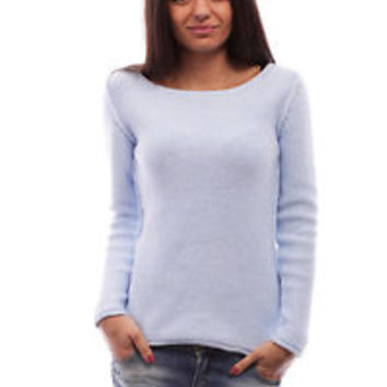 Ladies summer pullover sweater top , women's knit boat neck pullover sweater