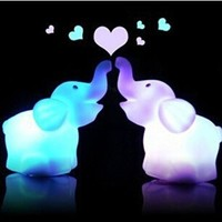 Domire Pack of 2 Color Changing Desk Bedroom Party Wedding Lamp LED Night Light,Elephant