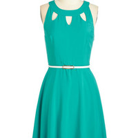 ModCloth Mid-length Sleeveless A-line Cutout of this World Dress in Aqua