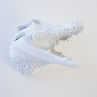The Ralph - White Resin Alligator Head- Crocodile Resin White Faux Taxidermy- Chic & Trendy
