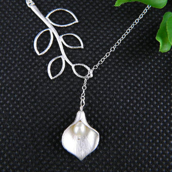 Bridesmaid Necklace Calla Lily Necklace Leaf by DanglingJewelry