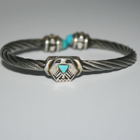 7.5 inches Beautiful Vintage Sterling Silver Turquoise and Eagler inspired Bracelet 5 -US free shipping