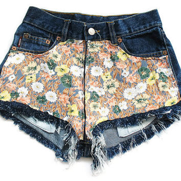 Floral high waist shorts XS by deathdiscolovesyou on Etsy