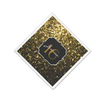 Beautiful Gold glitter sparkles Sweet 16 napkin Disposable Napkins