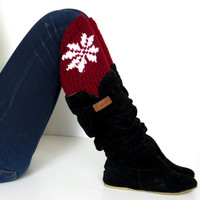 Women's Boot Cuffs, snowflakes, snowflake Knit Boot Toppers, Gift for her, snowflake pattern socks, Leg Warmers, For Teens,