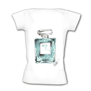 Fashion Shirt, Printed Shirt, Personalized Shirt, Custom Made T-shirt, Made Of My Original, mint perfume bottle illustration, women clothing