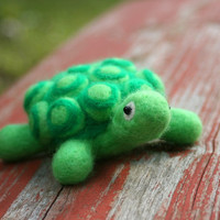 Needle Felted Turtle Figure / Pincushion  by Virtualdistortion