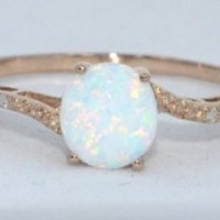 14Kt Rose Gold Plated Opal Round Diamond Ring